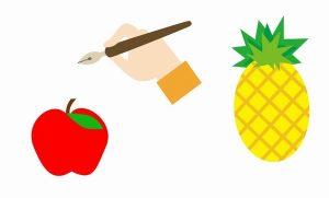 ペンとパイナップルとりんご