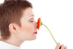 花の香りをかぐ